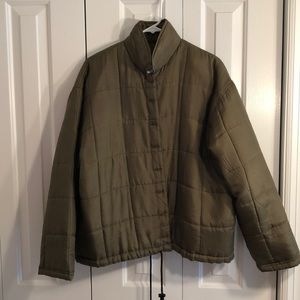 Bogari size L olive 100% button down silk jacket